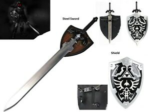 Ultimate-Legend-of-Zelda-Cosplay-Dark-Link-Steel-Master-Sword-Shield-Set-Black