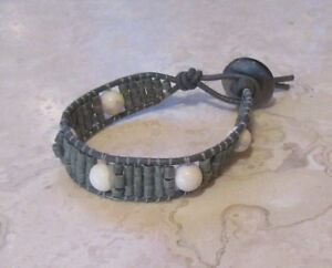 Howlite-Bracelet-Natural-Stone-Howlite-and-Gray-Stone-Heishi-on-Leather