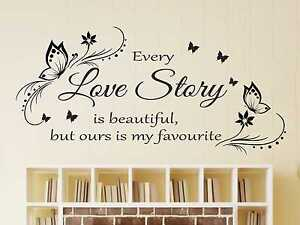 Large Every Love Story Is Beautiful Wall Quote Sticker Art Decal