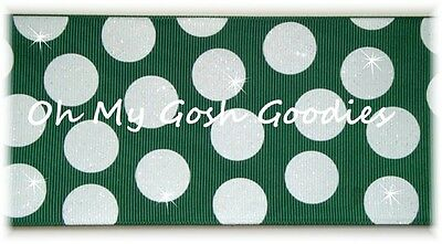 "3"" GLITTER JUMBO CHEER TEAM DOTS FOREST GREEN WHITE GROSGRAIN RIBBON 4 HAIRBOW"