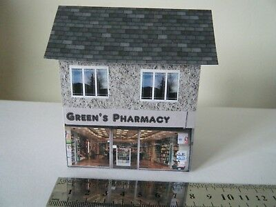Delizioso Scratch Built Card Model Railway House Pharmacy Shop 00 Gauge Le Materie Prime Sono Disponibili Senza Restrizioni