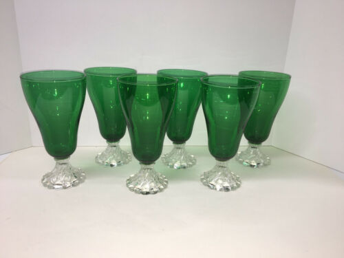 VINTAGE FOREST GREEN BOOPIE BERWICK Ice Tea Glasses Goblets ~ (6)
