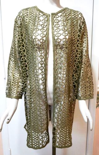 Tuscan Olive NWT $149 Chico's Travelers Collection Foiled Open Lace Jacket