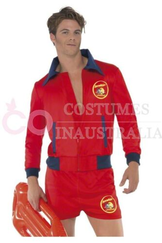 Licensed Mens Baywatch Beach Lifeguard Patrol Fancy Dress Party Costume Outfits