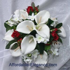 Image Is Loading Red White Round Bridal Bouquet Calla Lilies Stephanotis