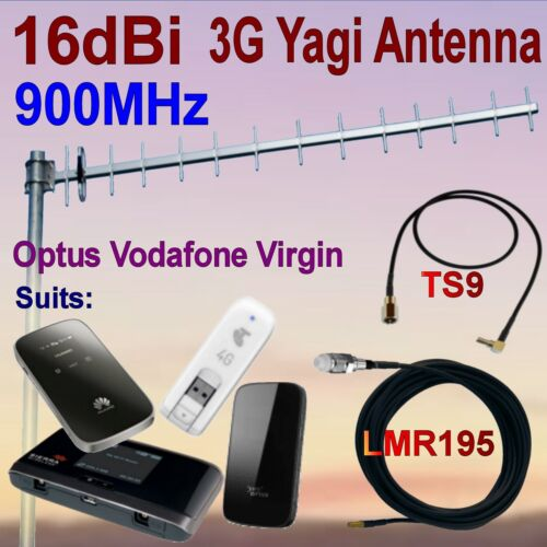 16dBi 900MHz 3G GSM Yagi Antenna OPTUS VIRGIN VODAFONE 7m COAX TS9 Patch Cable