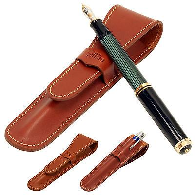 Whole leather Fountain pen case - Brown - single pen holder vintage cute pencil