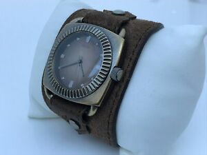 Guess-Men-Watch-Brown-Bronze-Tone-Genuine-Leather-Wide-Band-Analog-Wrist-Watch