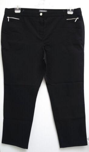 NUOVO MISURE GRANDI comoda donna stretch pantaloni in nero zierreißverschlüße MIS 54