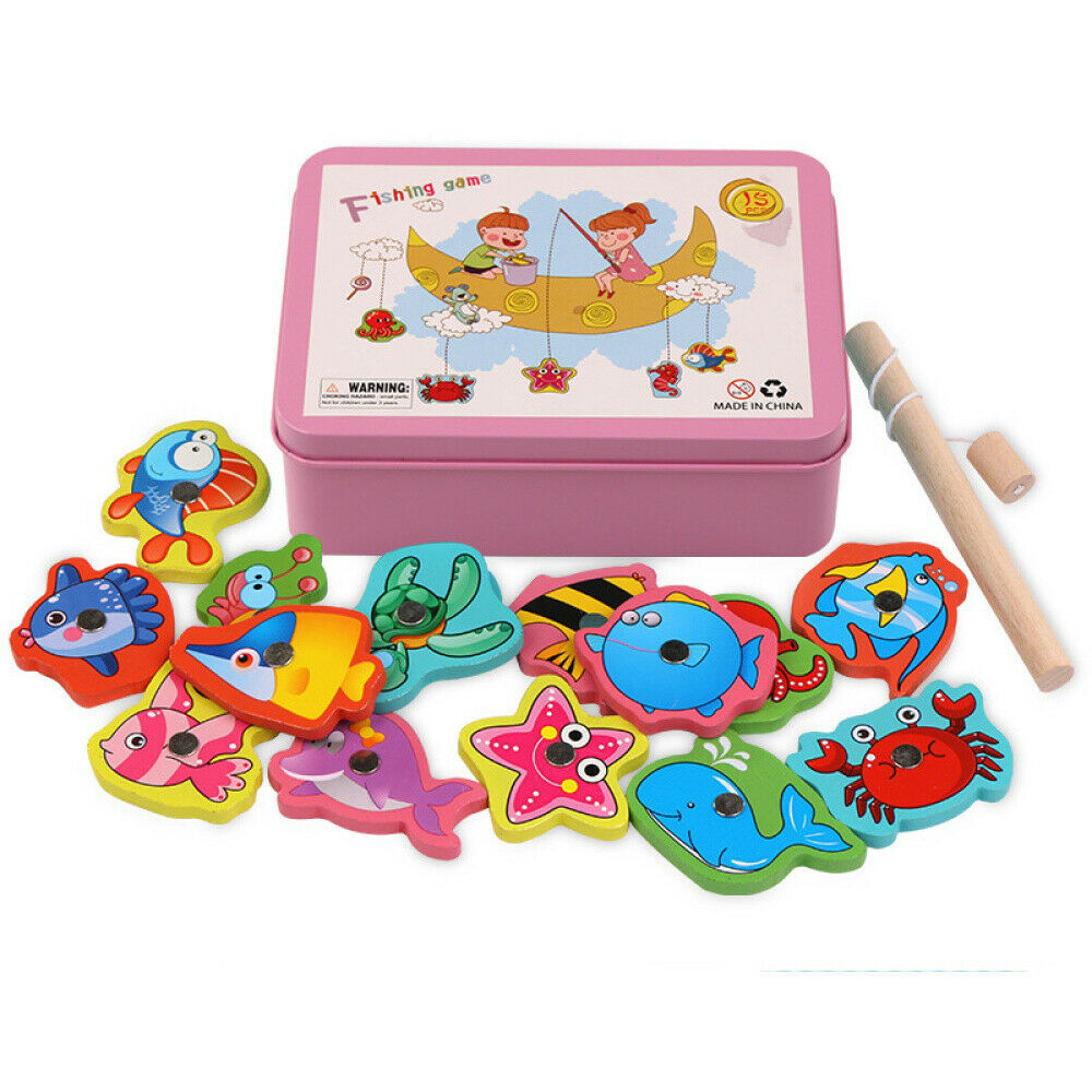 Wooden Children Fish Toys Magnetic Pesca Play Fishing Game Box Educational Toy 2