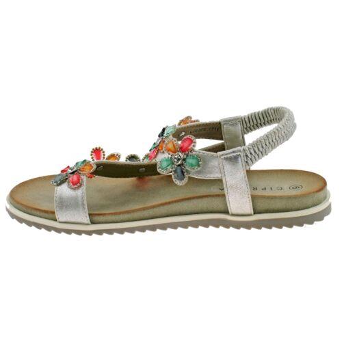 Mesdames cipriata Argent Scintillant Strass Fleur toe post sandals L063FS KD