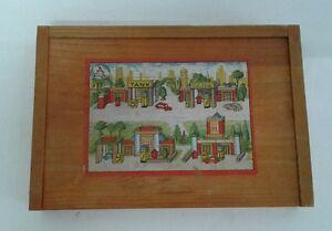 Alter kleiner Holzbaukasten altes Holzspielzeug DDR Bauklötze Haus Fenster alt