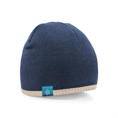 Headfudge Two-Tone Knitted Beanie Grey Navy Or Black d35