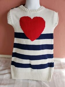 12cfb3548d2 Girls Old Navy Spring Red Heart Navy Blue White Stripe Knit Sweater ...