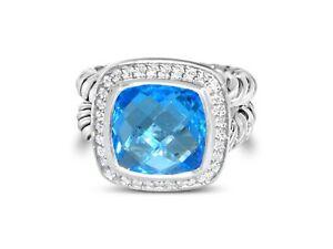 DAVID-YURMAN-ALBION-11MM-BLUE-TOPAZ-DIAMOND-STERLING-SILVER-RING-SIZE-7
