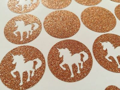 12 2/'/' rose gold GLITTER unicorn theme stickers birthday party envelope seals