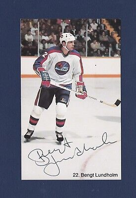 release date: 56b8e f1307 Bengt Lundholm signed Winnipeg Jets team issued hockey postcard | eBay