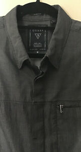 Men-s-Slim-Fit-Long-Sleeve-Shirt-Size-M-Black-Gray-Casual-Button-Front-Guess