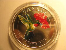 CANADA 2007 RUBY THROATED HUMMINGBIRD COLOURED OVERSIZE 25 CENT COIN BIRD SERIES