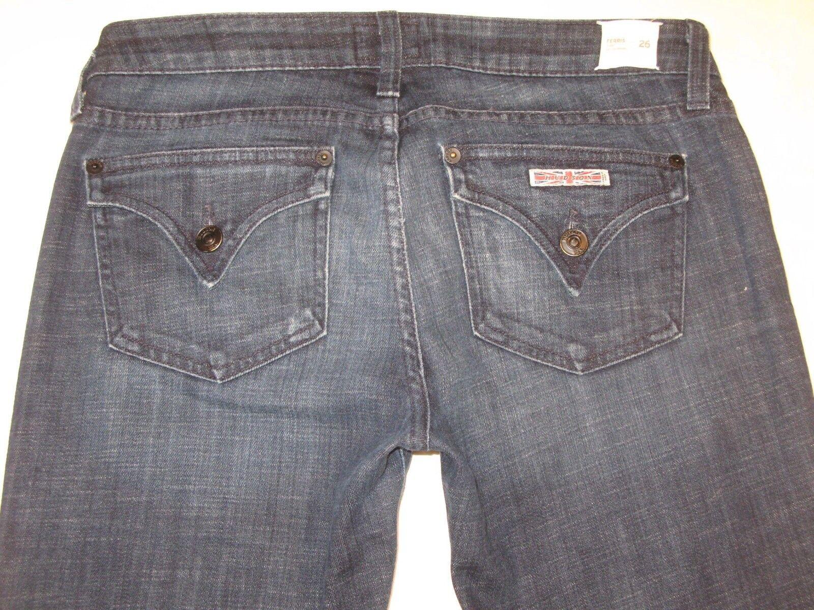 Hudson Ferris Flare Jeans Sz 26 Dark Distressed w Stretch Low Rise Flap Pocs