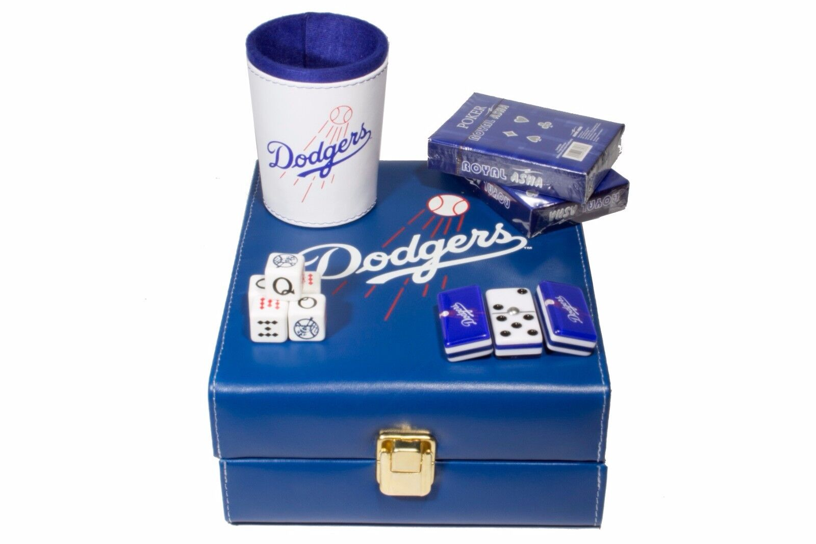 Los Angeles Dodgers Deluxe Set 3 Games  Domino, Dice Cup, 2 Poker Cards