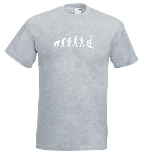Mens evolution t shirt ape to man evolution windsurfer t shirt