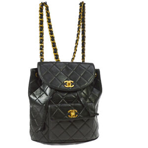 7371656124e Auth CHANEL Quilted CC Chain Drawstring Backpack Bag Black Leather ...