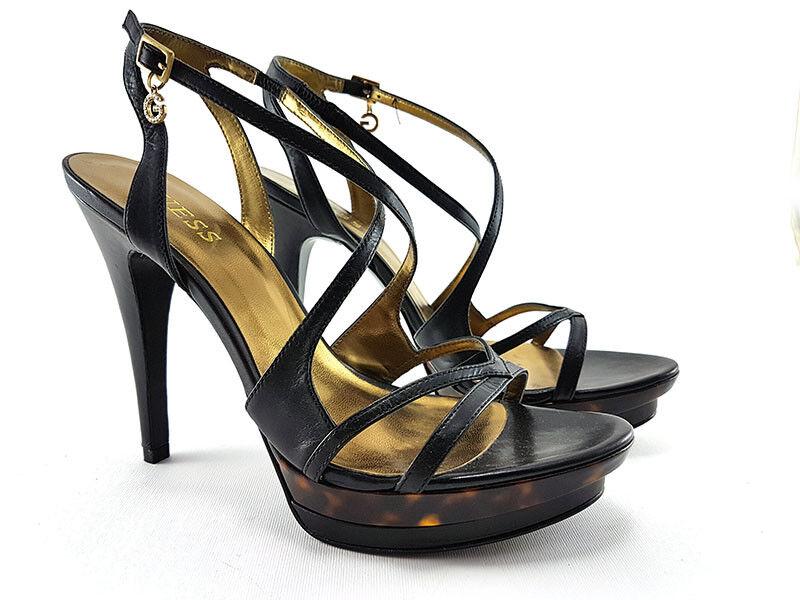 GUESS nero Leather High Heels Sandals, donna's scarpe Dimensione US 9 EU 39