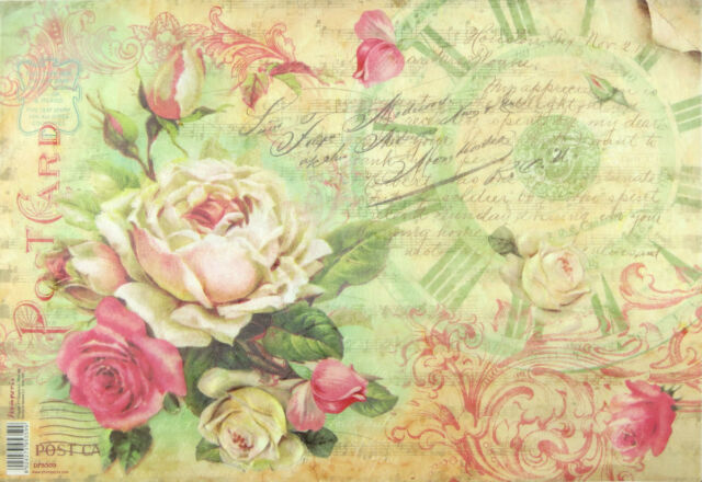 Rice Paper for Decoupage Scrapbooking Sheet Post Card with Rose and Words