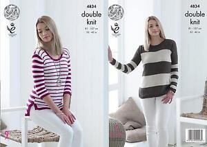 a5dba335a6b5 Image is loading King-Cole-4834-Knitting-Pattern-Womens-Striped-Sweaters-