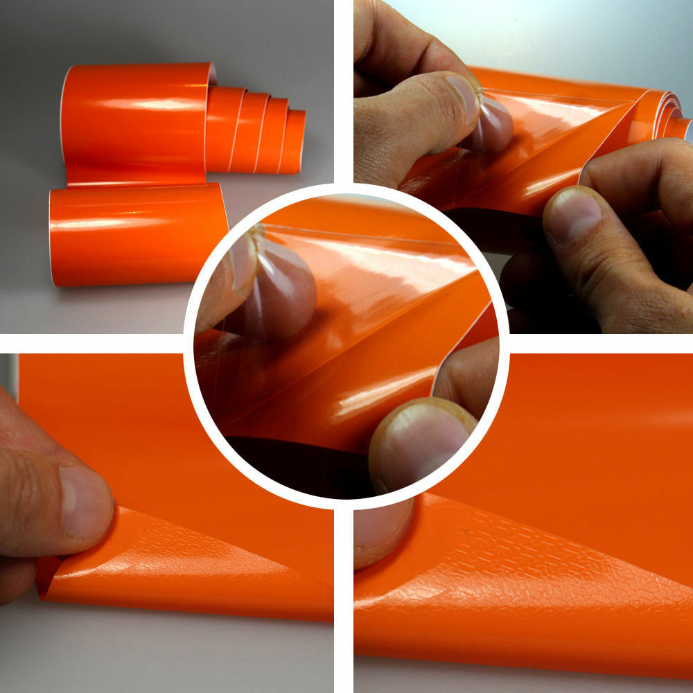 (6,57 €/m²) sans Bulles Brillant Film Orange 152 cm de voiture large brillance 3d Flex voiture de abd61b