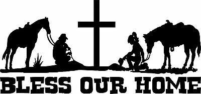Cowboy Kneeling at Cross Christain Jesus Prayer Country Pickup Sticker Decal