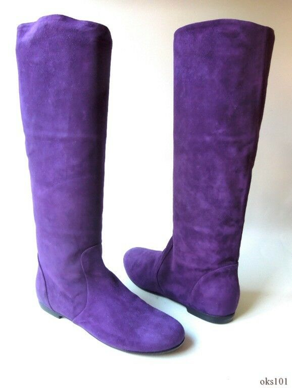 Nouveau Giuseppe Zanotti violet en Daim à Enfiler Enfiler Enfiler haut talon plat 37.5 7.5 - Incroyable 51db40
