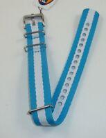 Fossil Fabric Nylon Field Canvas Blue & White Watch Strap Wrist Band 19mm Ams131