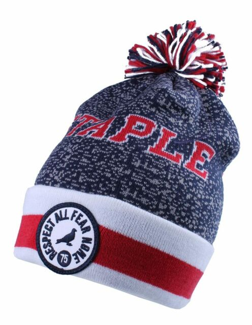 3e364954cc1 Staple Breakaway Mitchell Ness Respect All Fear None Red White Blue Pom  Beanie
