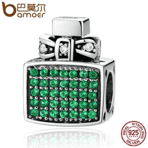 Bamoer européen S925 Sterling Silver Vert Zircone Cubique Charme bouteille de parfum Fit Bracelets
