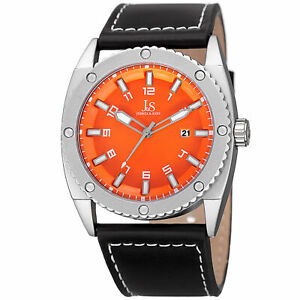 Men-039-s-Joshua-amp-Sons-JX120OR-Quartz-Movement-Date-Genuine-Leather-Strap-Watch