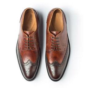 Homme-Fait-a-la-main-Chaussures-en-cuir-Oxford-Richelieu-a-deux-tons-lacets-style-formel-Bottes