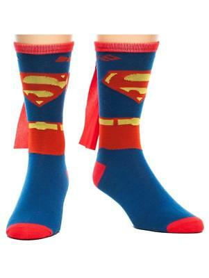 OFFICIAL DC COMICS SUPERMAN COSTUME STYLED PAIR OF SOCKS WITH CAPE (BRAND NEW)