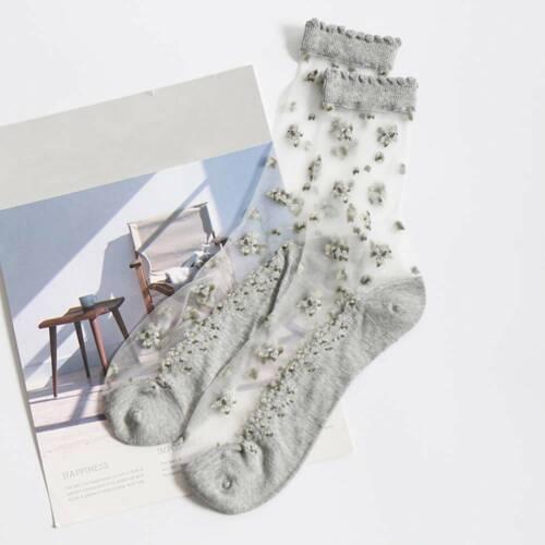 kawayi Girl Women/'s Transparent Silk Stockings Elastic Crystal Lace Short Socks