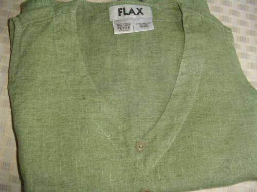 Flax Petite Top Green 100 Linen wXABqpg