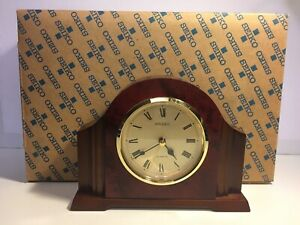 Seiko-Mantel-Table-Clock-With-Alarm-Qce107blh-With-Box