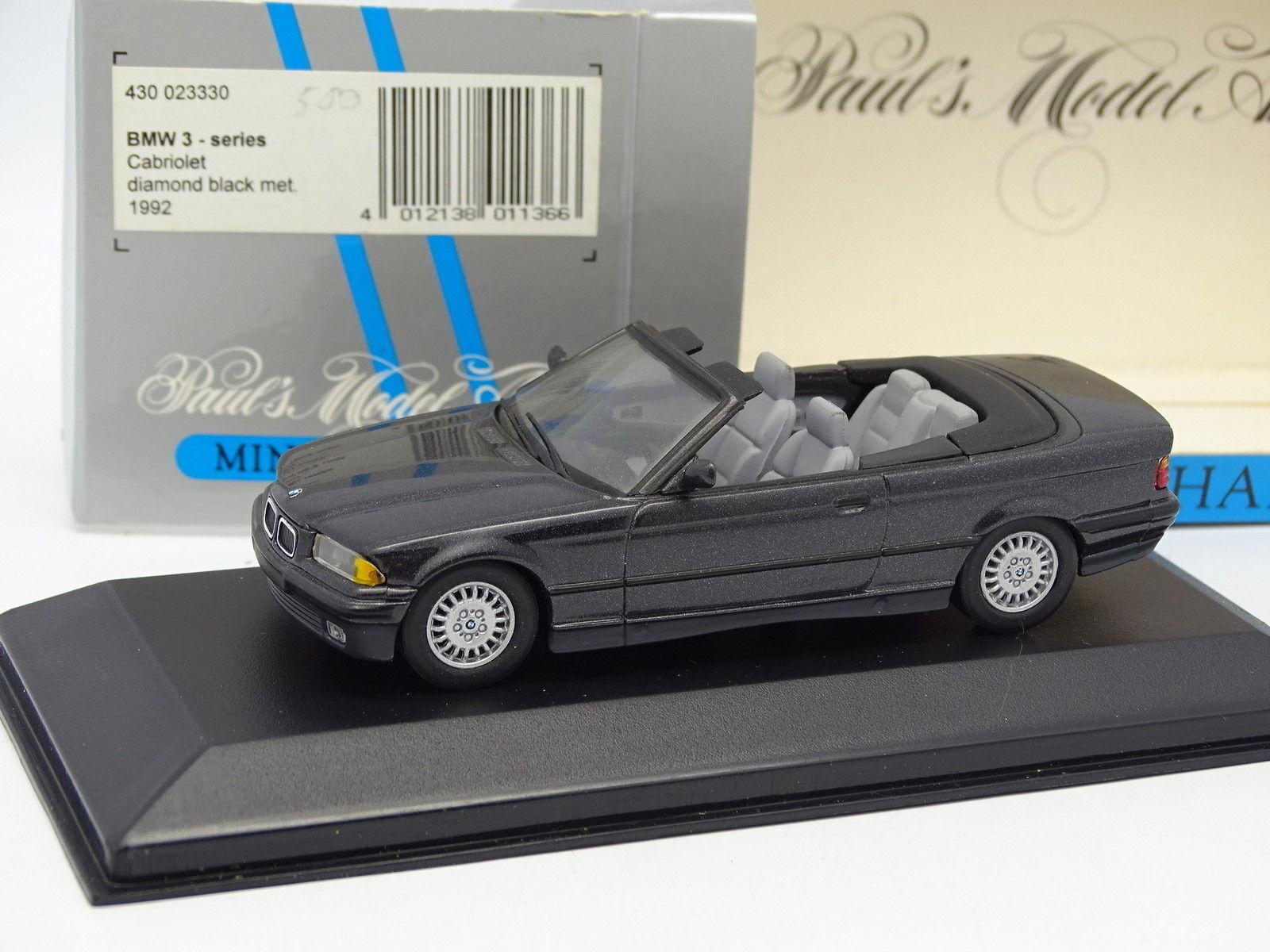 Minichamps 1 43 - BMW Serie 3 E36 Diamante Negro Metal Cabriolet