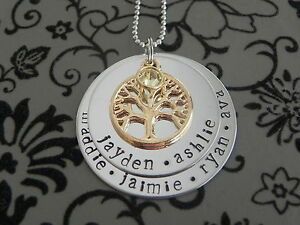 Birthstone Family Circle Tree Of Life Pend Other Party Items & Supplies Personalised  Hand Stamped 3 Names