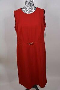 Kasper-Women-039-s-Belted-Stretch-Crepe-Sheath-Dress-Size-14W