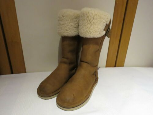 UGG® AUSTRALIA WILOWE CHESTNUT LEATHER PULL ON BOOTS UK 3.5 EU 36 USA 5 RRP £279
