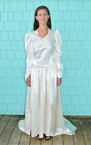 Vintage-30-039-s-Flapper-Ivory-Satin-Long-Sleeve-Wedding-Dress-Gown-Size-XS-S