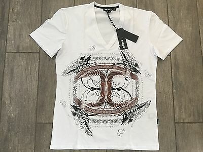 JUST CAVALLI Mens T-Shirt Short V Neck New Collection S03GC0211 - New With Tags