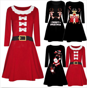 Women-Christmas-Printed-Long-Sleeve-Evening-Prom-Costume-Swing-Party-Dress-P
