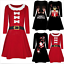 Women-Christmas-Printed-Long-Sleeve-Evening-Prom-Costume-Swing-Party-Dress-P thumbnail 1